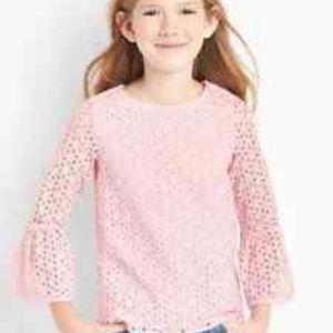 Gap girls baby pink eyelet blouse.